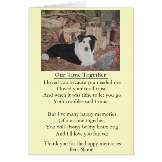 dog and pet sympathy poem original customisable card