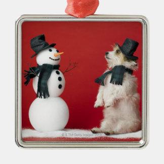 Dog and Snowman Christmas Ornament