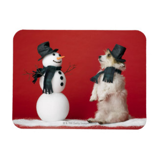 Dog and Snowman Magnet