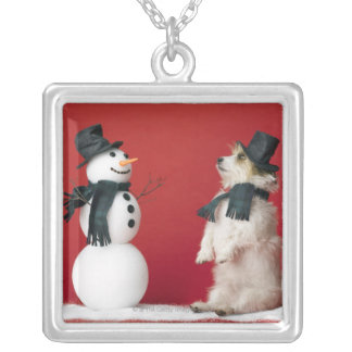 Dog and Snowman Silver Plated Necklace