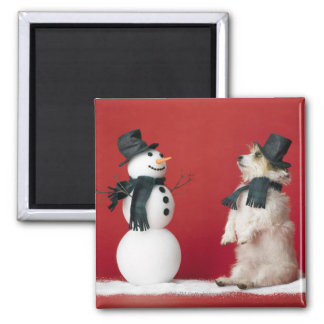 Dog and Snowman Square Magnet