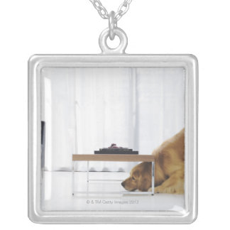 Dog and table silver plated necklace