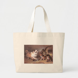 Dog and Three Pups Victorian Trade Card Tote Bags