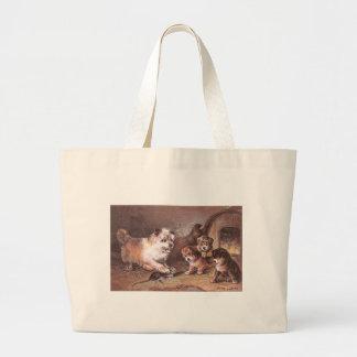 Dog and Three Pups Victorian Trade Card Jumbo Tote Bag