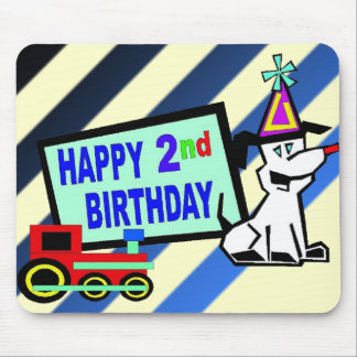 Dog and Train 2nd Birthday Mouse Pad