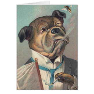 Dog and Wasp Vintage Illustration Card
