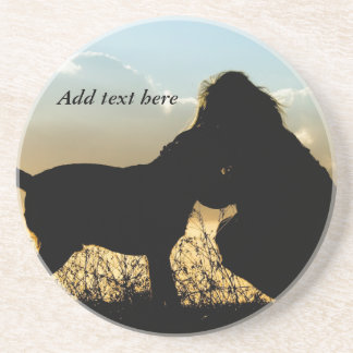 Dog and Woman in Sunset Beverage Coasters