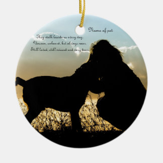 Dog and Woman in Sunset Round Ceramic Decoration