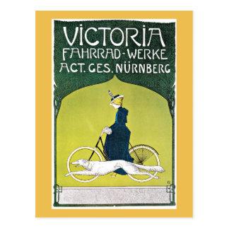 Dog and Woman Riding Bicycle Postcard