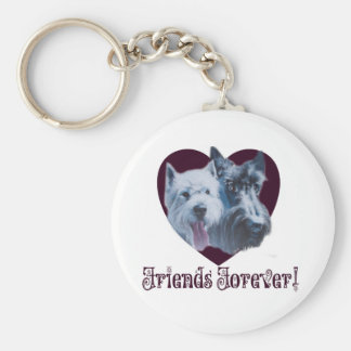 Dog Art:  Friends Forever! Basic Round Button Key Ring