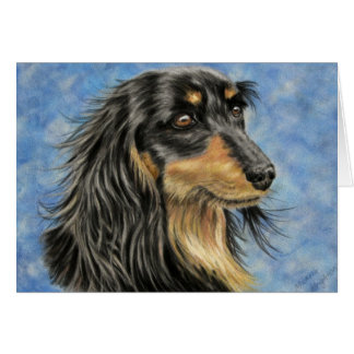 Dog Art - Long Haired Dachshund Art Marcus Card
