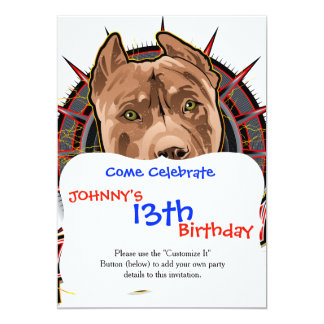 dog art radical pit bull brown and red 13 cm x 18 cm invitation card