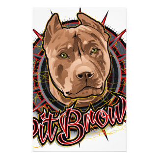 dog art radical pit bull brown and red 14 cm x 21.5 cm flyer