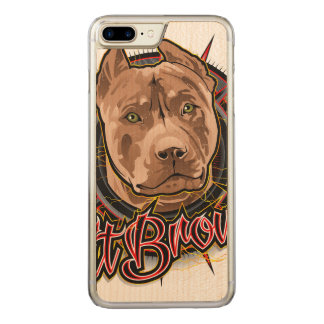 dog art radical pit bull brown and red carved iPhone 7 plus case