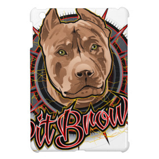 dog art radical pit bull brown and red iPad mini cover
