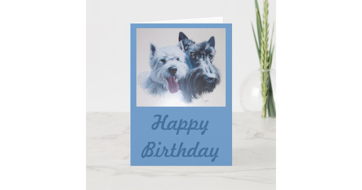 Dog Art Scottie Westie Birthday Card Zazzle