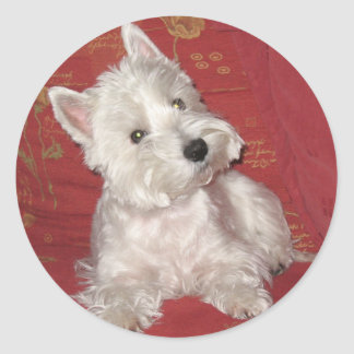 Dog Art: the Westie Round Sticker