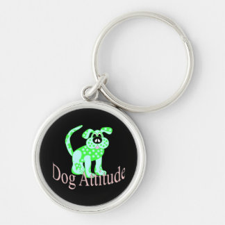 Dog Attitude Silver-Colored Round Key Ring