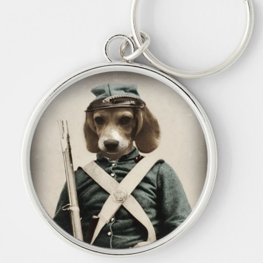 Dog Beagle Civil War Keychain by Watchful Crow