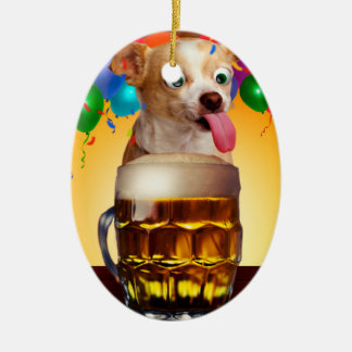dog beer-funny dog-crazy dog-cute dog-pet dog christmas ornament