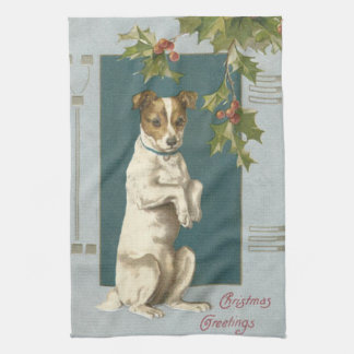 Dog Begging Holly Christmas Greetings Tea Towel