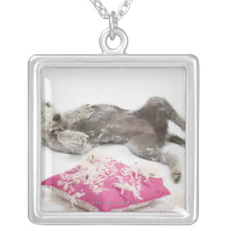 Dog behaviour training silver plated necklace