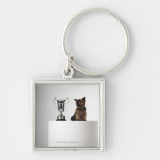 Dog beside a large silver trophy Silver-Colored square key ring