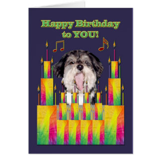Dog Birthday Cakes Singing Card