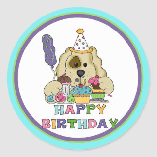 Dog Birthday Classic Round Sticker