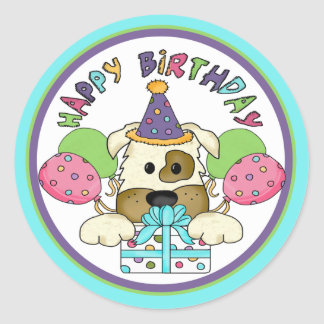 Dog Birthday Round Stickers