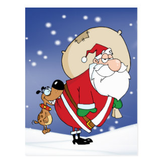 dog biting santa postcard