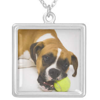 Dog biting tennis ball silver plated necklace