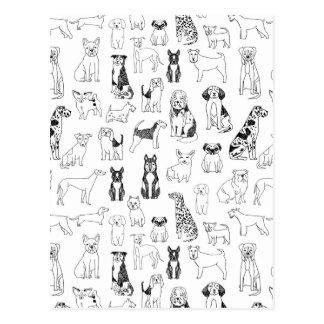 Dog Black White Hand Illustration / Andrea Lauren Postcard