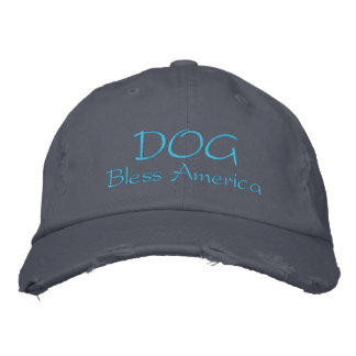 Dog Bless America Destroyed Hat Embroidered Baseball Caps