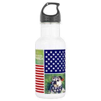 Dog Bless America Patriotic 532 Ml Water Bottle