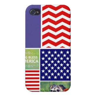 Dog Bless America Patriotic Cover For iPhone 4