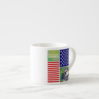 Dog Bless America Patriotic Espresso Mug