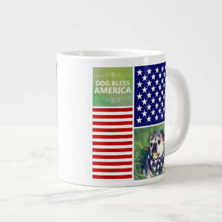 Dog Bless America Patriotic Jumbo Mug