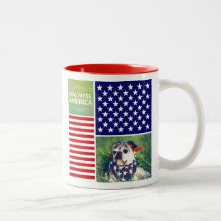 Dog Bless America Patriotic Coffee Mugs