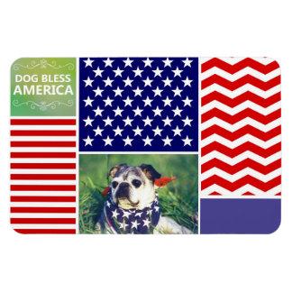 Dog Bless America Patriotic Rectangular Magnets