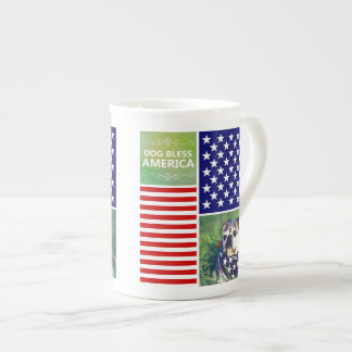 Dog Bless America Patriotic Bone China Mugs
