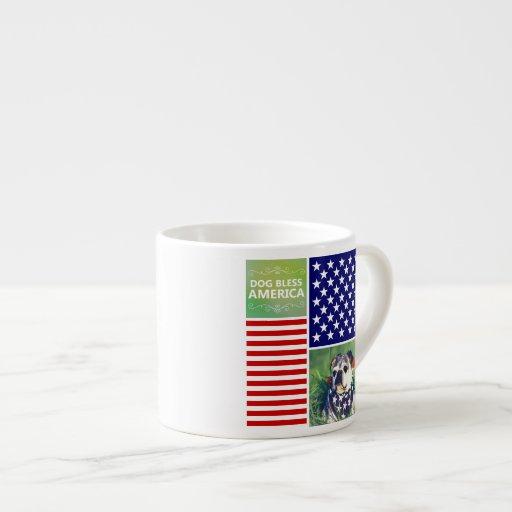 Dog Bless America Patriotic Espresso Mugs