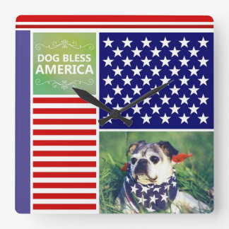 Dog Bless America Patriotic Square Wall Clock