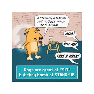 Dog Bombing at Standup Comedy Club Canvas Print