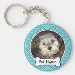 Dog Bone and Blue Polka Dot Pet Photo Frame Basic Round Button Key Ring