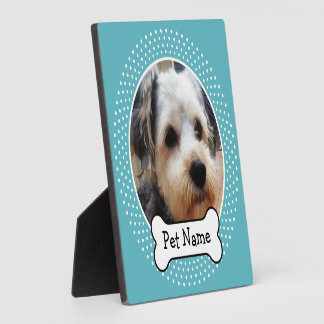 Dog Bone and Blue Polka Dot Pet Photo Frame Photo Plaques