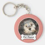 Dog Bone and Coral Polka Dot Pet Photo Frame Basic Round Button Key Ring
