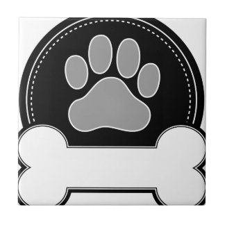 Dog Bone and Paw Small Square Tile