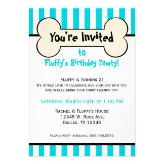 Dog Bone Blue Striped Birthday Party Invitation