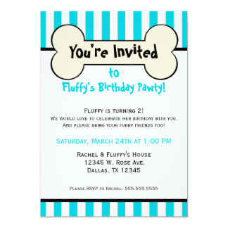 Dog Bone Blue Striped Birthday Party Invitation